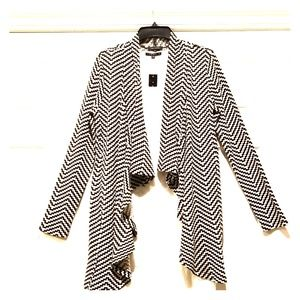 NWT Black/Cream Chevron Convertible Long Cardigan